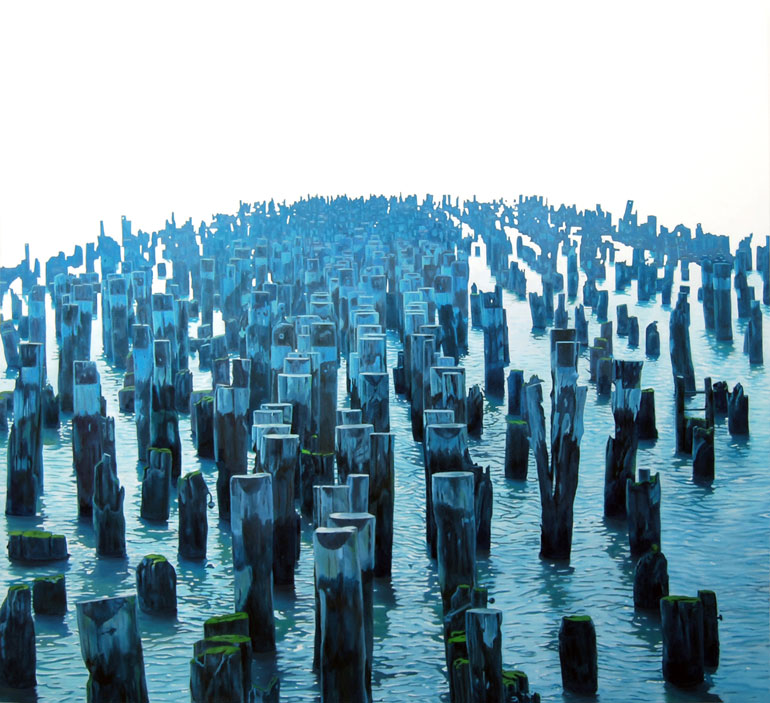 "Pylons oil on linen 44"" x 48"""